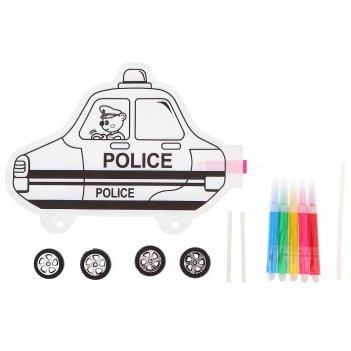 Раскраска - надувная фигурка полицеская машинка + 5 фломастеров, 4 колеса