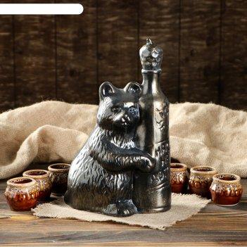Набор коньячный медведь: нас не догонят бронза, 7 предметов, 0,7 л