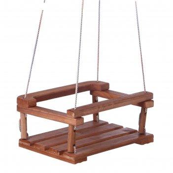 Качель  подвесная, деревянная 30*40см плоская, тёмная