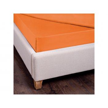 Простыня прямая 220*220 см хлопок 100%, оранжевый, сатин