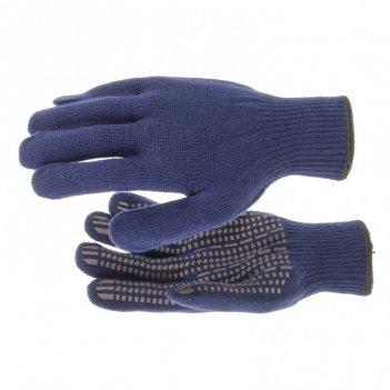 Перчатки трикотажные, акрил, пвх гель, протектор, синий, оверлок россия си