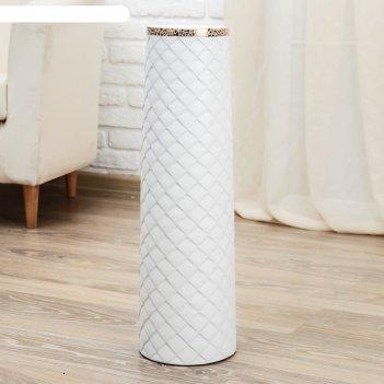 Ваза керамика напольная геометрия люкс 15*60 см, ромбики, прямая, белая