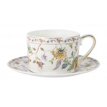 Чашка с блюдцем флора белая, 0,25 л