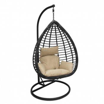 Подвесное кресло leset eagle black ми, каркас черный, подушка зелёная