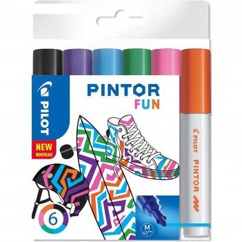 Набор маркеров для декор 6цв pilot pintor fun перман. 4.5мм, пласт/уп pint