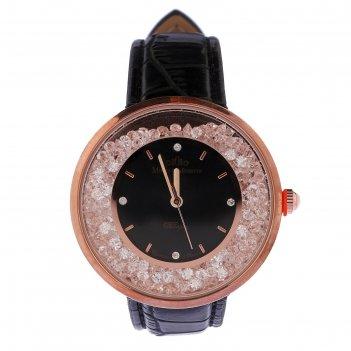 Часы наручные женские михаил москвин, чёрный циферблат, чёрный ремешок, 11