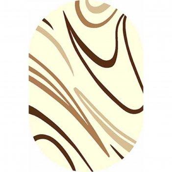 Ковёр карвинг фризе vision deluxe v804, 2,5*5 м, овал, cream