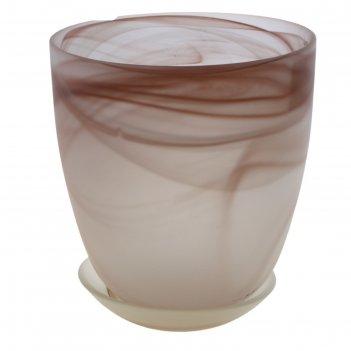 Горшок для цветов гармония d=15,5 см, поддон, коричневый, алебастр