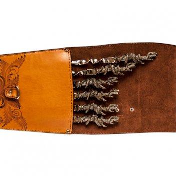 Шампура подарочные (змеи) 6шт. вколчане изнатуральной кожи