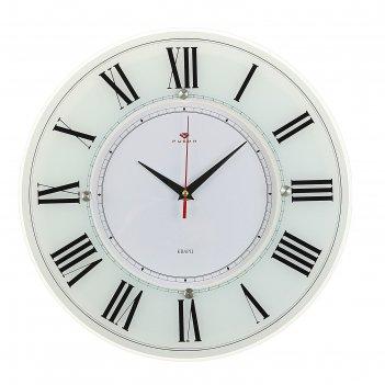 Часы настенные, серия: классика, классика, 34 см стекло, белые рубин