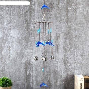 Музыка ветра металл, пластик 4 колокольчика дельфины 64х10 см