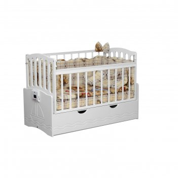 Детская автоматическая кроватка укачай-ка 03, белый с матрасом милан