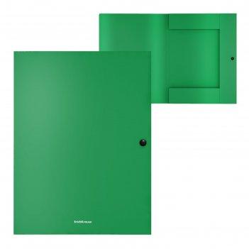 Папка на кнопке а4 8мм зеленая, пластик, 3 клапана erichkrause, matt class