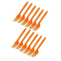 Вилки пластиковые делюкс оранжевые (набор 12 шт)