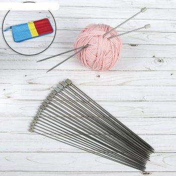 Спицы для вязания, d = 2-7 мм, 35 см, 10 пар в пенале