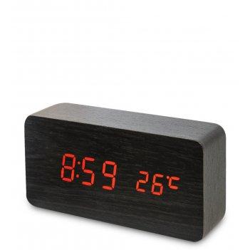 Ял-07-09/10 часы электронные (чёрное дерево с красной подсветкой)
