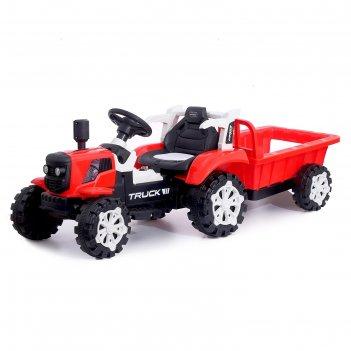 Электромобиль трактор, с прицепом, 2 мотора, цвет красный