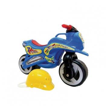 11-007 беговел motorcycle 7 со шлемом синий