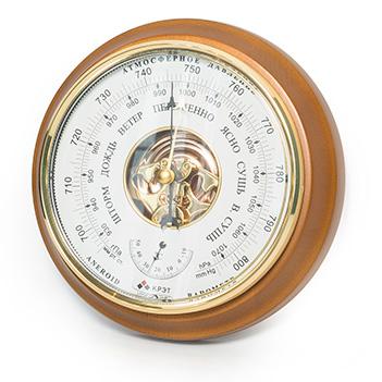 Барометр термометр бтк-сн 16, белый циферблат, 21х5см