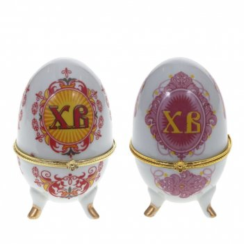 Шкатулка декоративная яйцо, l6 w6 h10 см, 2в.