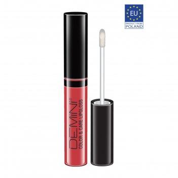 Блеск для губ demini color & care, тон 04 ягодно-розовый, лаковый