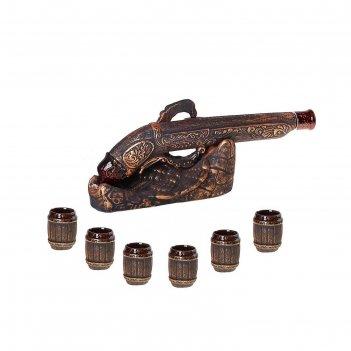 Набор для коньяка мушкет 8 предметов, бронза, 0,3л