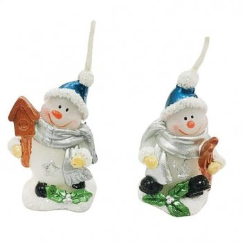 Свеча снеговик 5,5 см, серебр., в ассорт.