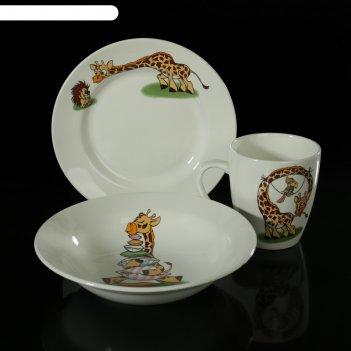 Набор посуды жираф, 3 предмета