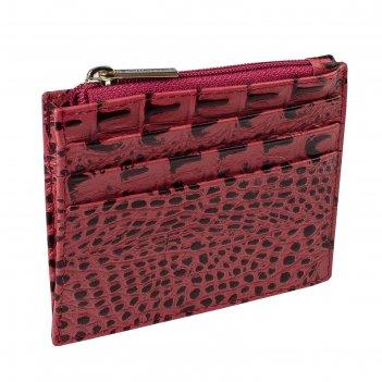 Визитница, 9,5 х 0,2 х 7,8 см, цвет красный крокодил, серия loricata rouge