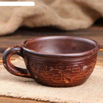 Чашка кофейная катон декор, красная глина, 0,1 л
