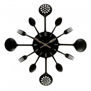 Часы настенные, серия: кухня, вилки, ложки, поварешки, черные, d=35 см, ми
