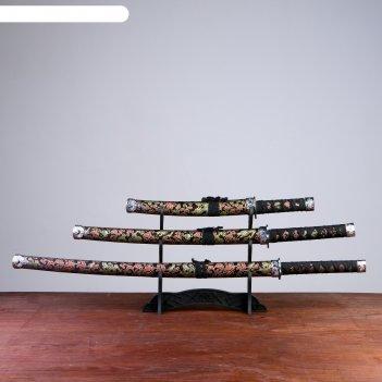 Катаны сувенирные 3в1, на подставке, ткань, черные ножны, узоры с драконом