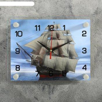 Часы настенные, серия: море, корабль стекло 20х26  см, микс