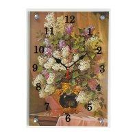 Часы настенные прямоугольные зеленая ваза с цветами25х35см