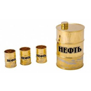 Набор водочный нефть (фляга, 3 стопки)