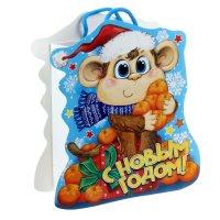 Пакет-открытка обезьянка с мандаринами