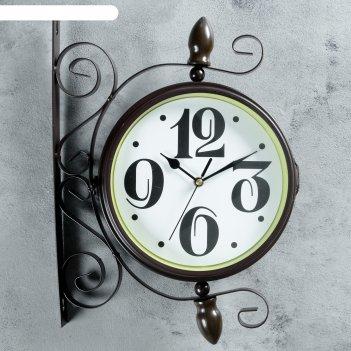 Часы настенные двойные, серия: садовые, ретро классика, коричневфые,  d=20