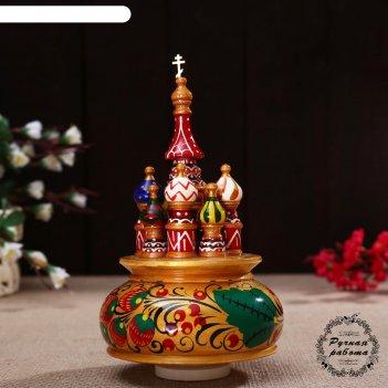 Сувенир-шкатулка музыкальная храм, 19х15,5 см, хохлома золото