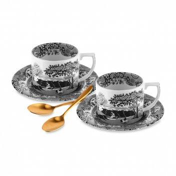 Набор из 2-х чайных пар с ложками, объем: 280 мл, материал: фаянс, цвет: б
