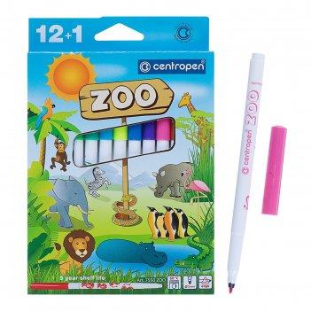 Фломастеры centropen zoo 7550, 13 цветов, линия, 1 мм, картонная упаковка