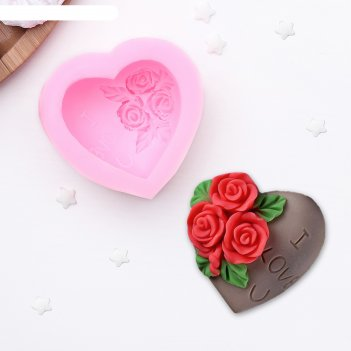 Молд силиконовый 7x4 см роза в сердце