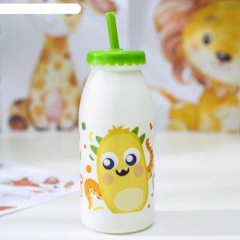 Бутылка с трубочкой «фрутис», 6,5х6,5х19,5см, цвет микс