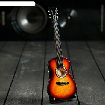 Гитара сувенирная акустическая коричневая, на подставке 24х8х2 см