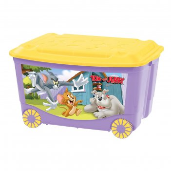 Ящик для игрушек на колесах с аппликацией том и джерри. цвет сиреневый 431