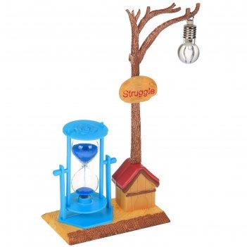 Часы песочные дерево с фонариком, 13х9х27 см