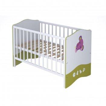 Кроватка-трансформер polini kids basic elly, 140 х 70 см, цвет белый-зелён