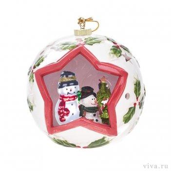 Новогодняя композиция в шаре 12 см с подсветкой   «снеговики»