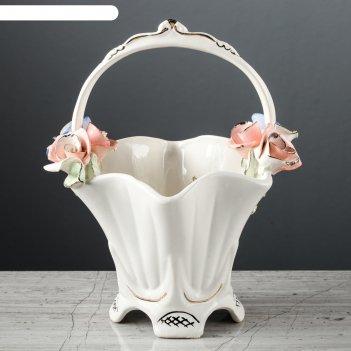 Ваза для конфет подарочная, лепка, цветы, 22 см