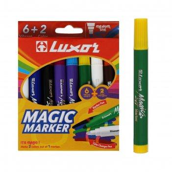 Фломастеры 6+2цв luxor magic 8шт., картон, европодвес, меняющие цв 6104/bo