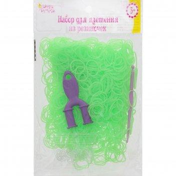 Резиночки для плетения ребристые салатовые, набор 1000 шт., крючок, крепле